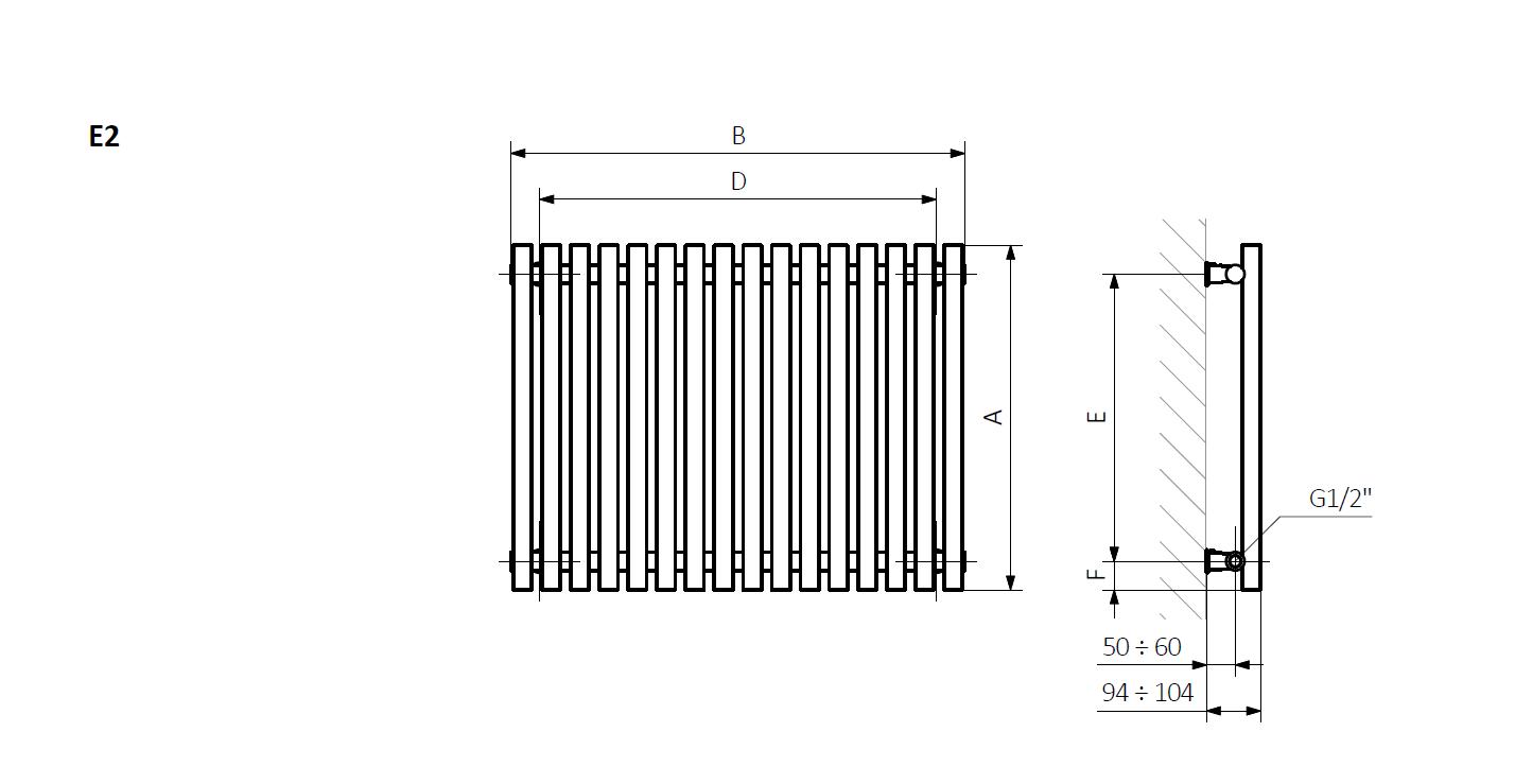 A – wysokość B – szerokość D – rozstaw mocowań w poziomie E – rozstaw mocowań w pionie F – odległość od dolnej osi mocowań do dolnej krawędzi kolektora
