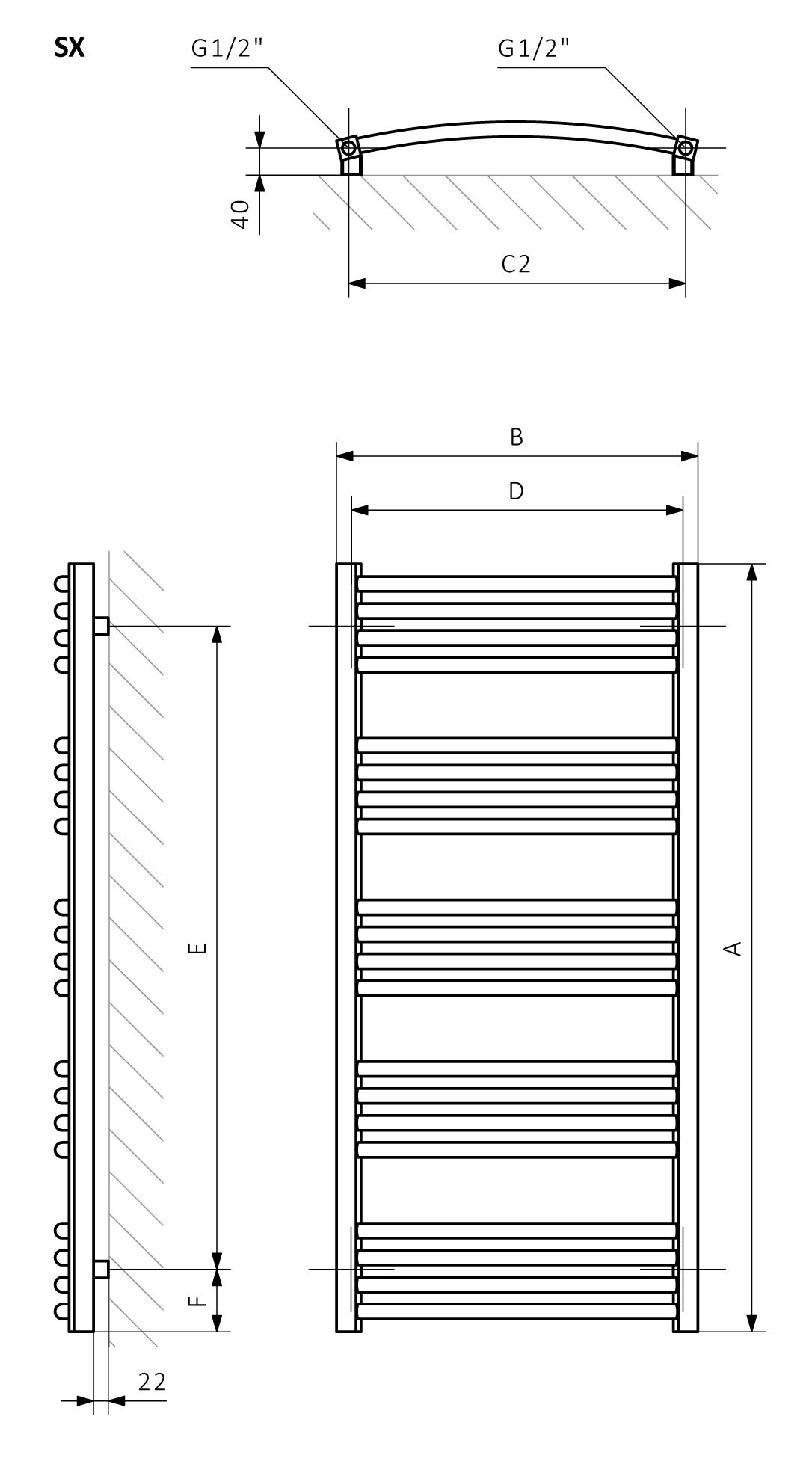 <p>A – Height, B – Width, C1-C5 – Distance between pipe centres, D – Horizontal distance between mounting bracket centres, E – Vertical distance between mounting brackets,<br /> F – Distance between a mounting bracket and the bottom of the radiator</p>