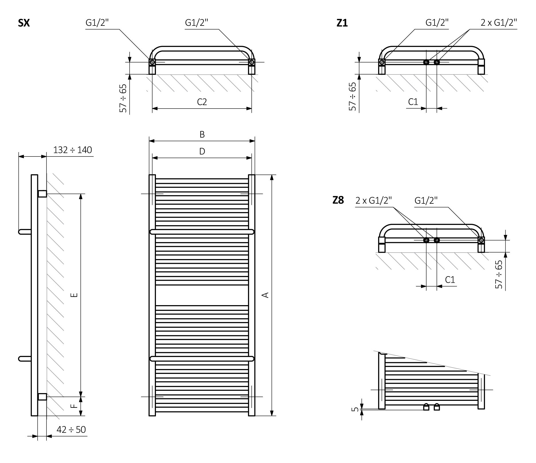 <p>A – Height, B – Width, C1-C5 – Distance between pipe centres, D – Horizontal distance between mounting bracket centres, E – Vertical distance between mounting brackets, F – Distance between a mounting bracket and the bottom of the radiator</p>