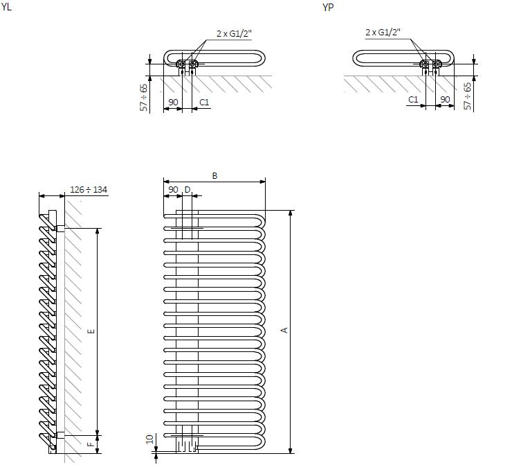 A – wysokość, B – szerokość, C1-C5 – rozstaw podłączeń, D – rozstaw konsol w poziomie, E – rozstaw konsol w pionie, F – odległość od osi dolnej konsoli do dolnej krawędzi kolektora