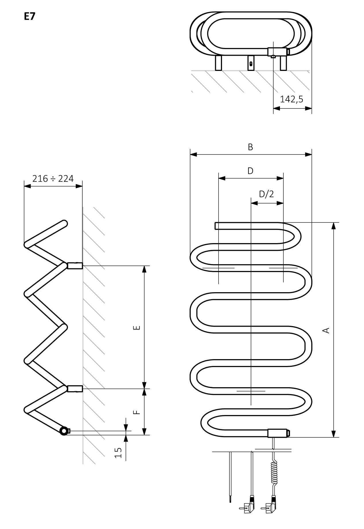 A – Height, B – Width, C1-C5 – Distance between pipe centres, D – Horizontal distance between mounting bracket centres, E – Vertical distance between mounting brackets,<br /> F – Distance between a mounting bracket and the bottom of the radiator