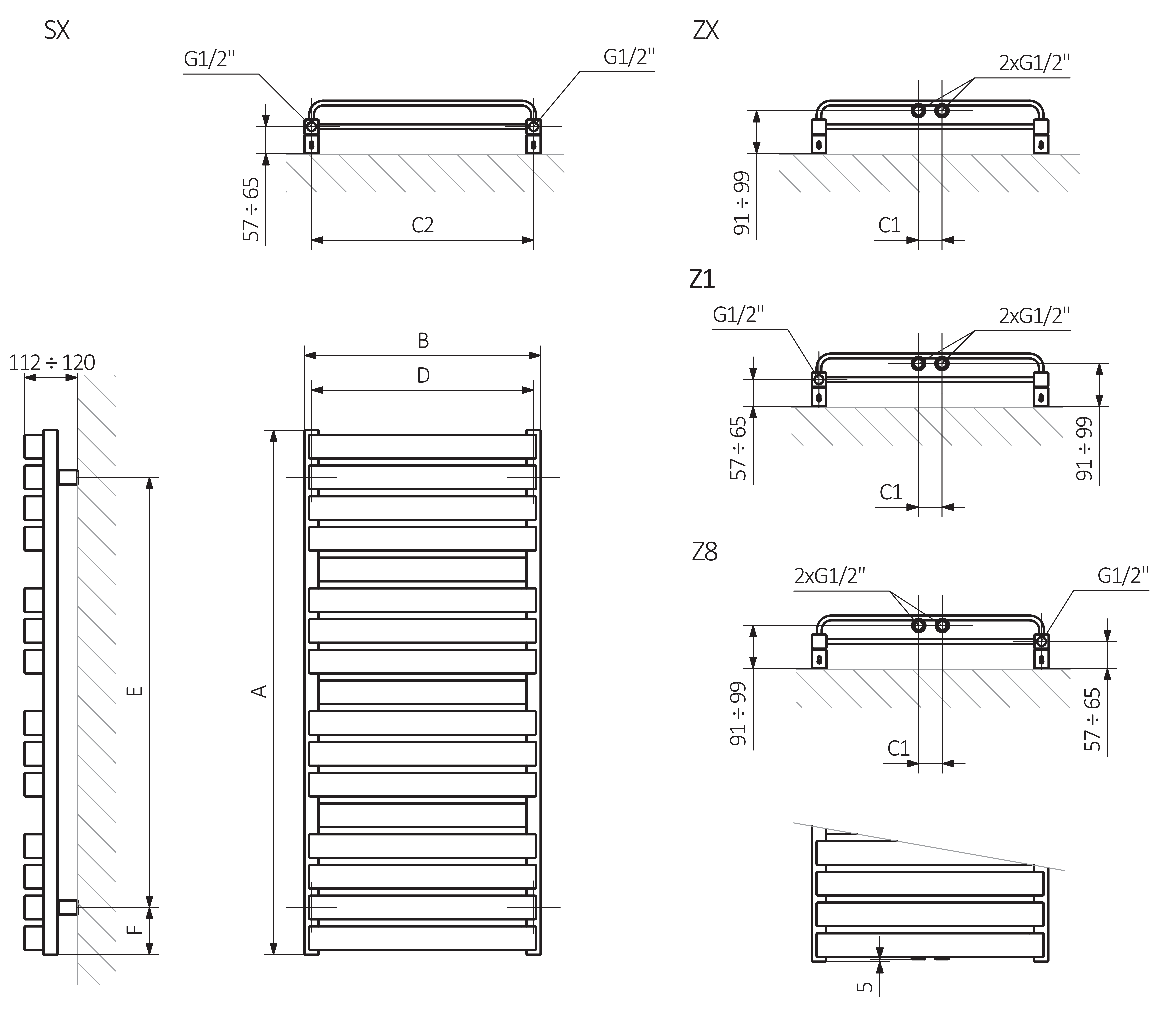 A – Height, B – Width, C1-C5 – Distance between pipe centres, D – Horizontal distance between mounting bracket centres, E – Vertical distance between mounting brackets, F – Distance between a mounting bracket and the bottom of the radiator