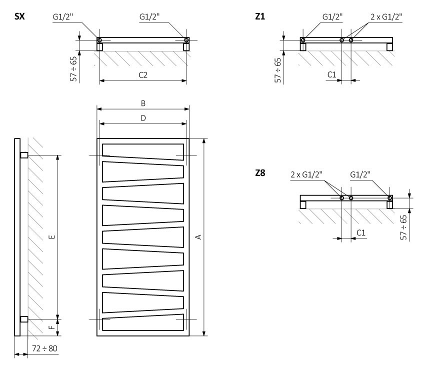 A - height B - width C1-C5 - connection spacing D - distance between fixings horizontally E - distance between attachments vertically F - distance from the lower axle of fixings to the bottom edge of the collector